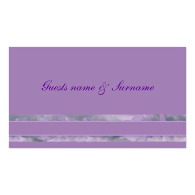 Lavender wedding seating name tags business card by Florals