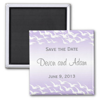 Lavender & White Birds Save the Date Magnet
