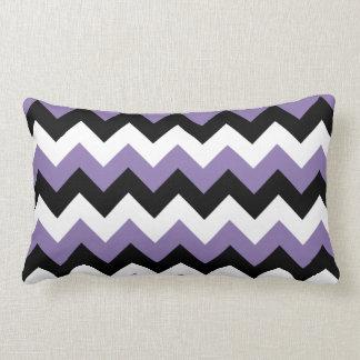 Lavender White Black Zigzag Lumbar Pillow
