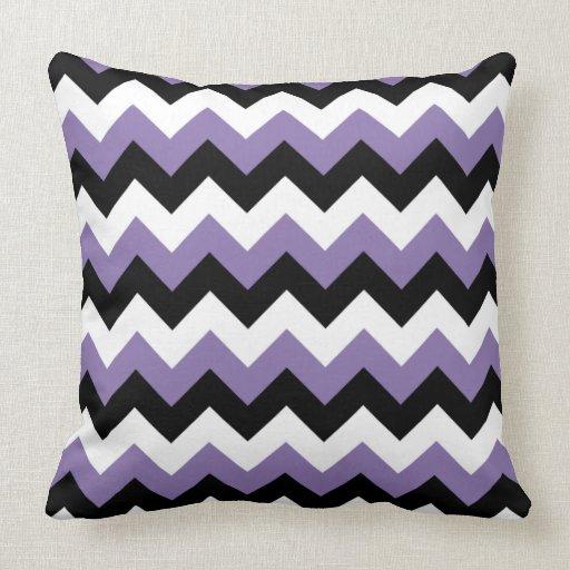 Lavender And White Throw Pillow : Lavender White Black Zigzag Throw Pillow Zazzle