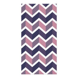 Lavender White Chevron Geometric Designs Color Photo Greeting Card