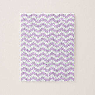 Lavender White Chevron Pattern Jigsaw Puzzle