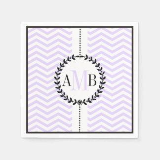 Lavender, white chevron pattern wedding paper napkins