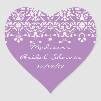 Lavender & White Damask Bride Shower Heart Sticker