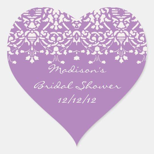 Lavender & White Damask Bride Shower Heart Sticker
