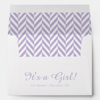 Lavender White Due Date Baby Shower Envelopes
