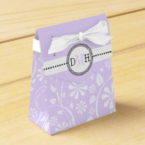 Lavender, white floral pattern custom wedding favor box