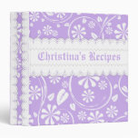Lavender, white floral pattern & scalloped borders binders