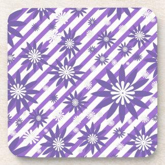 Lavender  & White Flower Design Coaster