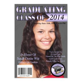 """Lavender & White Graduating Class Magazine Cover 5"""" X 7"""" Invitation Card"""