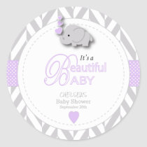 Lavender, White Gray Elephant Baby Shower Classic Round Sticker