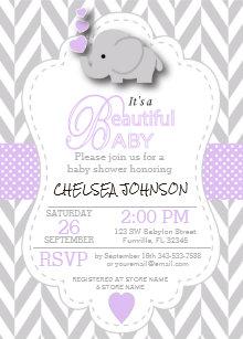 Lavender baby shower invitations zazzle lavender white gray elephant baby shower invitation filmwisefo