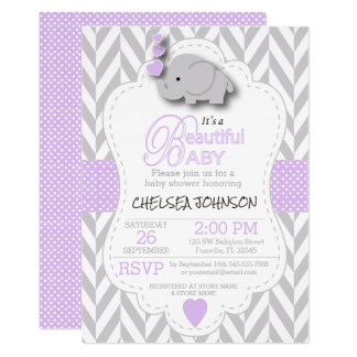 Lavender, White Gray Elephant Baby Shower Invitation