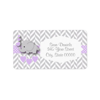 Lavender, White Gray Elephant Baby Shower Label