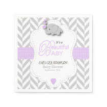 Lavender, White Gray Elephant Baby Shower Paper Napkin