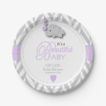 Lavender, White Gray Elephant Baby Shower Paper Plate