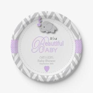 Lavender White Gray Elephant Baby Shower Paper Plate  sc 1 st  Zazzle & Lavender And White Plates | Zazzle