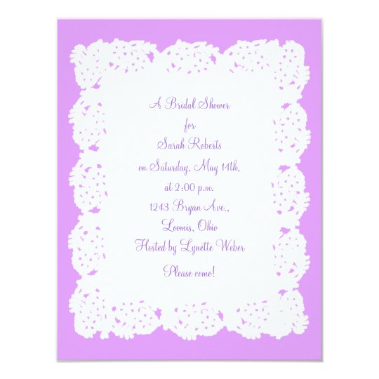 Lavender White Lace Doily Bridal Shower Invitation