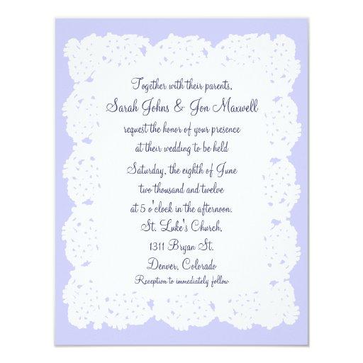 Lavender White Lace Doily Wedding Invitation