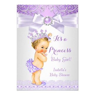Lavender White Lilac Princess Baby Shower Blonde Card