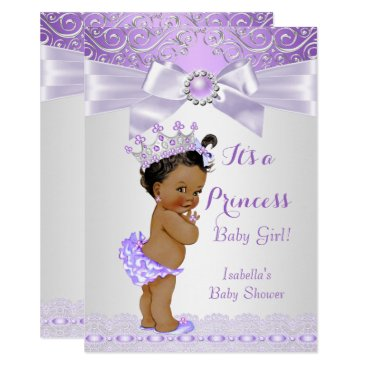 Toddler & Baby themed Lavender White Lilac Princess Baby Shower Ethnic Card