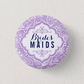 Lavender & White Paisley Brides-maids Button