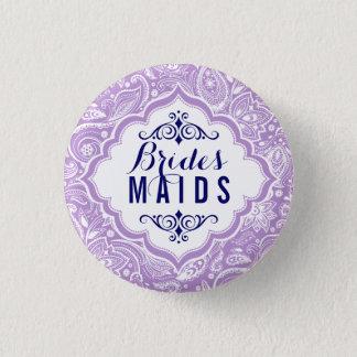 Lavender & White Paisley Brides-maids Button 2