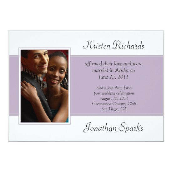 Lavender White Photo Post Wedding Celebration Invitation