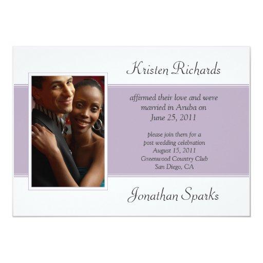 Lavender White Photo Post Wedding Celebration Invite