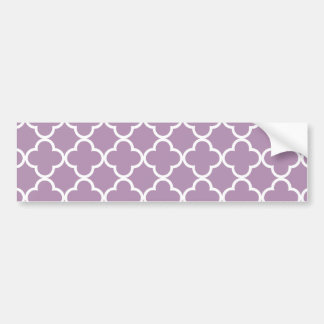 Lavender White Quatrefoil Moroccan Pattern Bumper Sticker