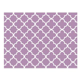 Lavender White Quatrefoil Moroccan Pattern Postcard