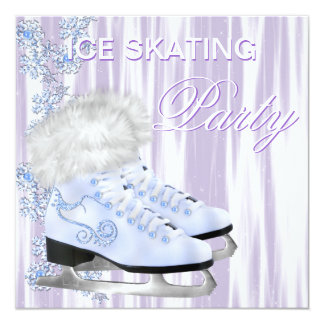 Lavender White Snowflakes Skates Ice Skating Party Card