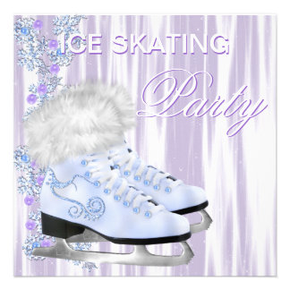 Lavender White Snowflakes Skates Ice Skating Party Custom Announcement