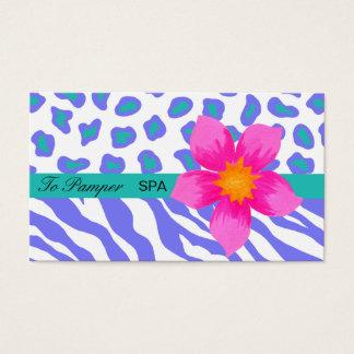 Lavender, White, Teal Floral Zebra & Cheetah Skin Business Card