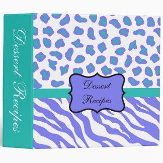 Lavender White & Teal Zebra & Cheetah Custom Album 3 Ring Binder