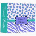 Lavender White & Teal Zebra & Cheetah Custom Album Binder