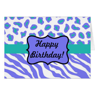 Lavender, White & Teal Zebra & Cheetah Personalize Card