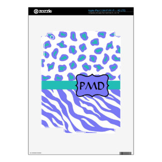 Lavender, White & Teal Zebra & Cheetah Personalize Decal For iPad 3