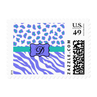 Lavender, White & Teal Zebra & Cheetah Personalize Postage