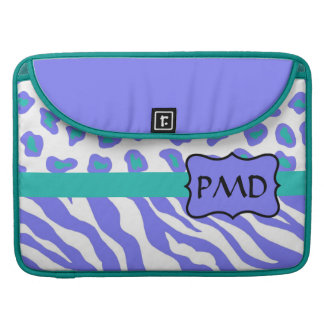 Lavender, White & Teal Zebra & Cheetah Personalize Sleeve For MacBooks