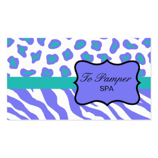 Lavender, White, Teal Zebra & Cheetah Skin Custom Business Card