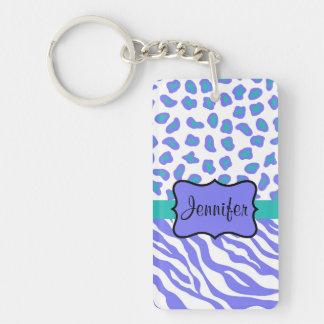 Lavender, White & TealvZebra & Cheeta Personalized Double-Sided Rectangular Acrylic Keychain