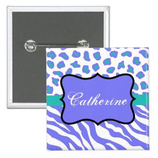 Lavender White Turquoise Zebra Leopard Name Badge 2 Inch Square Button