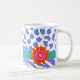 Lavender & White Zebra & Cheetah Orange Flower Classic White Coffee Mug