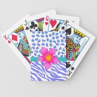 Lavender & White Zebra & Cheetah Pink Flower Bicycle Playing Cards