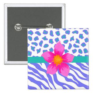 Lavender & White Zebra & Cheetah Pink Flower 2 Inch Square Button