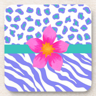 Lavender & White Zebra & Cheetah Pink Flower Coaster