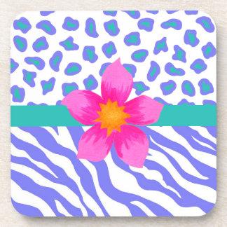 Lavender & White Zebra & Cheetah Pink Flower Drink Coaster