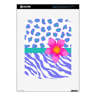 Lavender & White Zebra & Cheetah Pink Flower Decal For iPad 3