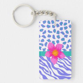 Lavender & White Zebra & Cheetah Pink Flower Double-Sided Rectangular Acrylic Keychain